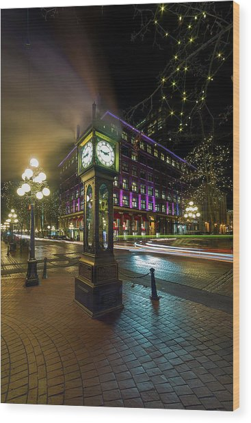 Steam Clock In Gastown Vancouver Bc At Night Wood Print