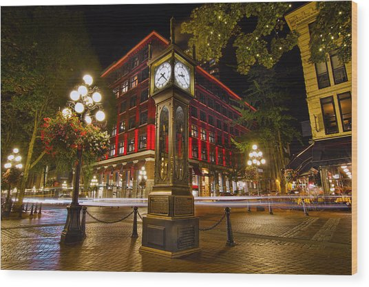 Steam Clock In Historic Gastown Vancouver Bc Wood Print