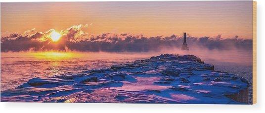 Steam Fog Two Panorama Wood Print