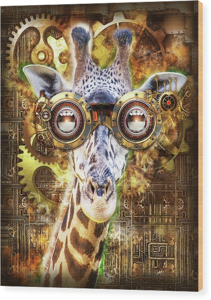 Steam Punk Giraffe Wood Print