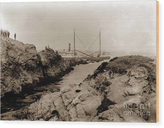 Steam Schooner S S J. B. Stetson, Ran Aground At Cypress Point, Sep. 1934 Wood Print