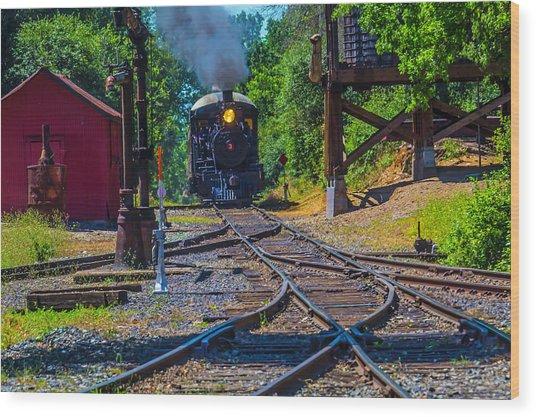 Steam Train Coming Down The Tracks Wood Print