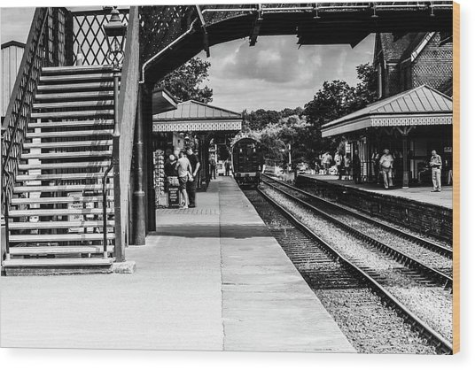 Steam Train In The Station Wood Print