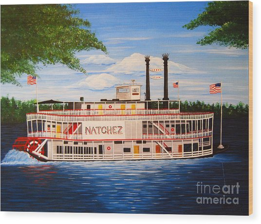 Steamboat On The Mississippi Wood Print