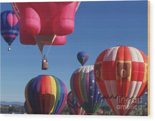 Steamboat Springs Balloons Wood Print by Stan and Anne Foster