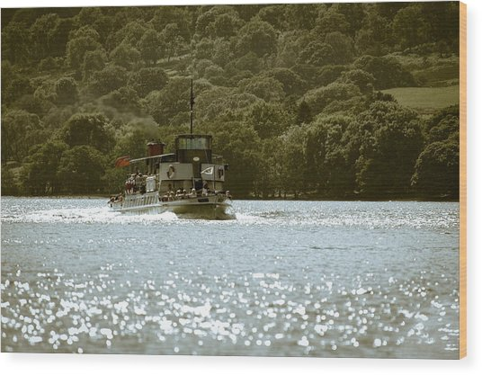 Steaming Across The Lake Wood Print by Andy Smy