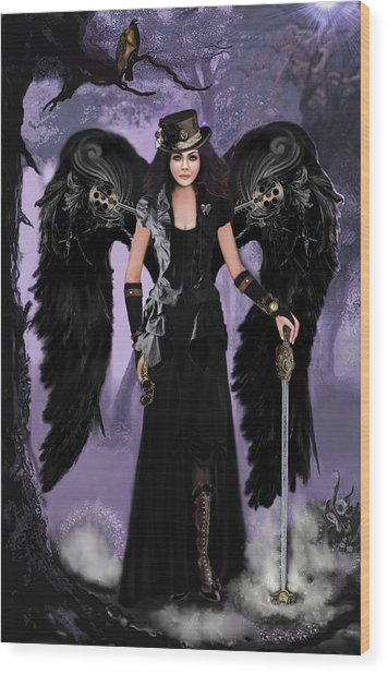 Steampunk Angel Wood Print