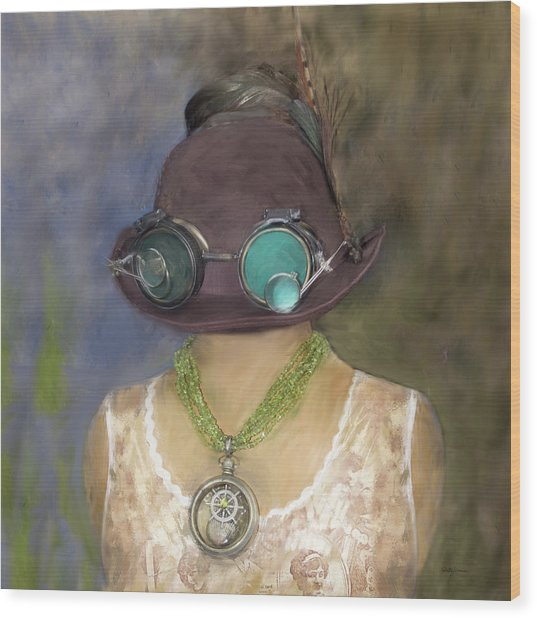 Steampunk Beauty With Hat And Goggles - Square Wood Print