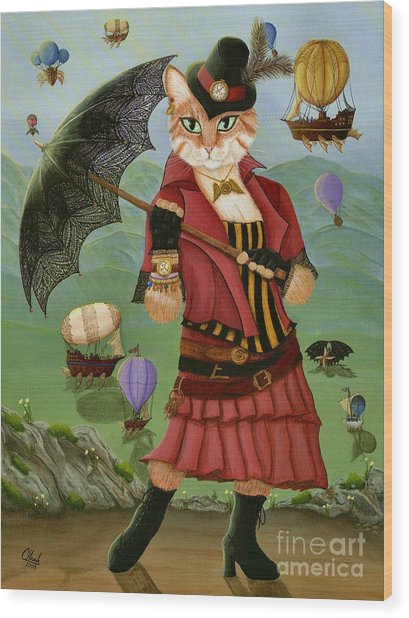 Steampunk Cat Gal - Victorian Cat Wood Print