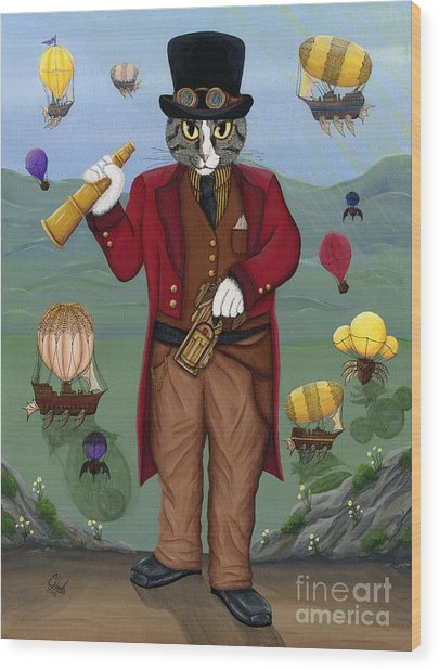 Steampunk Cat Guy - Victorian Cat Wood Print