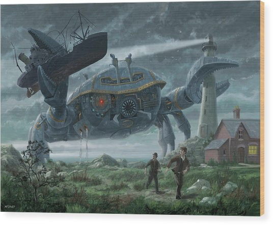Steampunk Giant Crab Attacks Lighthouse Wood Print