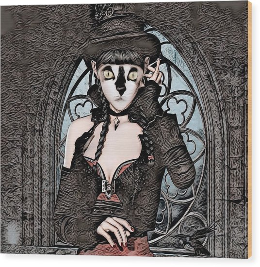 Steampunk Kitty By Artful Oasis Wood Print