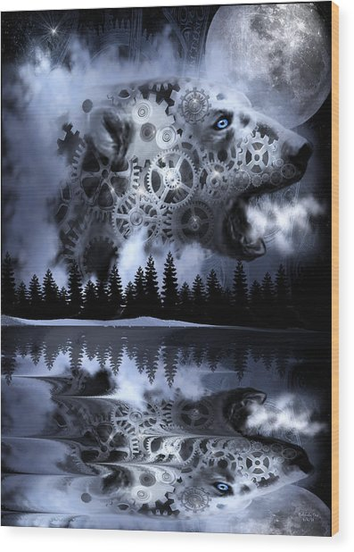 Steampunk Polar Bear Landscape Wood Print