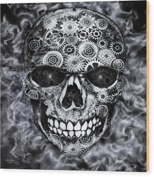 Steampunk Skull Wood Print