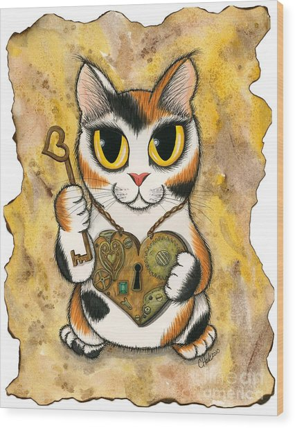 Steampunk Valentine Cat Wood Print
