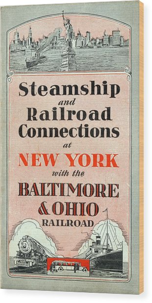 Steamship And Railroad Connections At New York Wood Print