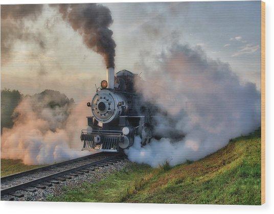 Steamy Departure Wood Print