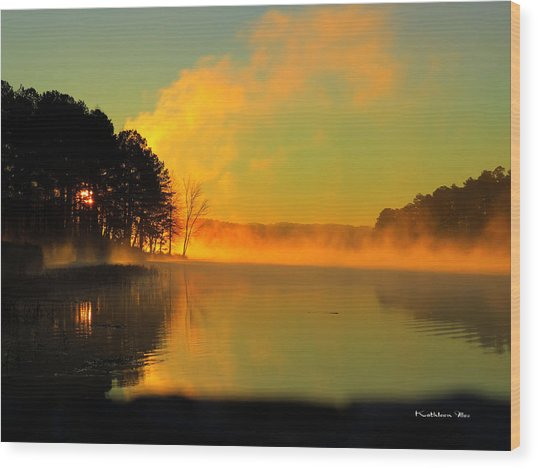 Steamy Sunrise Wood Print