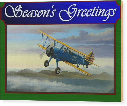 Stearman Christmas Card Wood Print