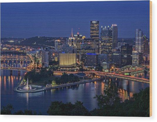 Steel City Glow Wood Print
