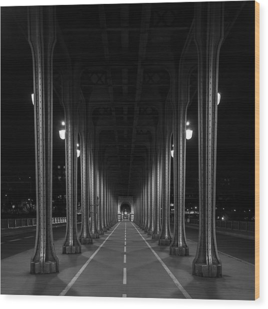 Wood Print featuring the photograph Steel Colonnades In The Night by Denis Rouleau