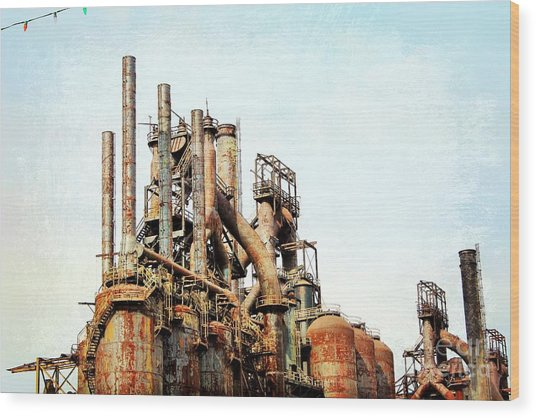 Steel Stack Blast Furnaces Wood Print