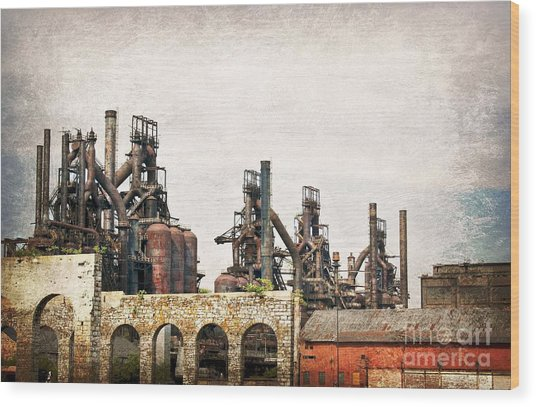 Steel Stacks  Wood Print