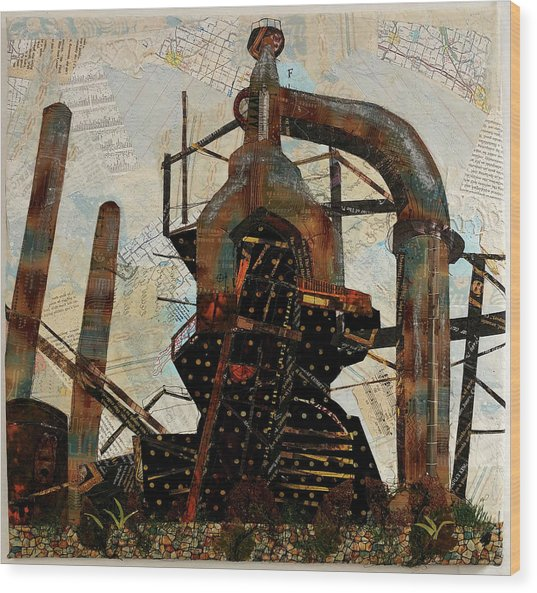 Steel Stacks Squared Wood Print