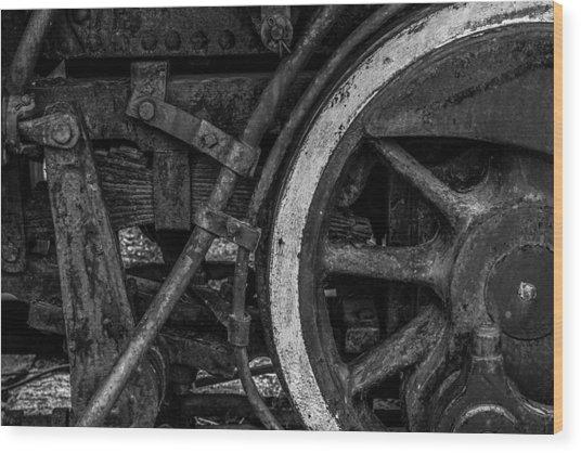Steel Wheels In Monochrome Wood Print