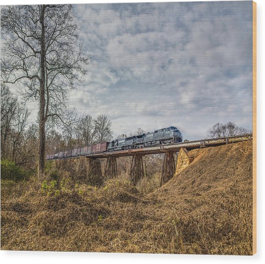 Steele Creek Trestle Panorama Wood Print