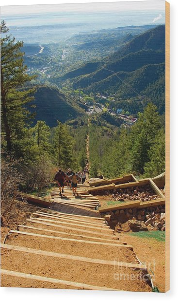 Steep Manitou Incline And Barr Trail Wood Print