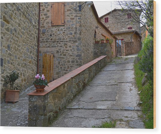 Steep Street In Montalcino Italy Wood Print