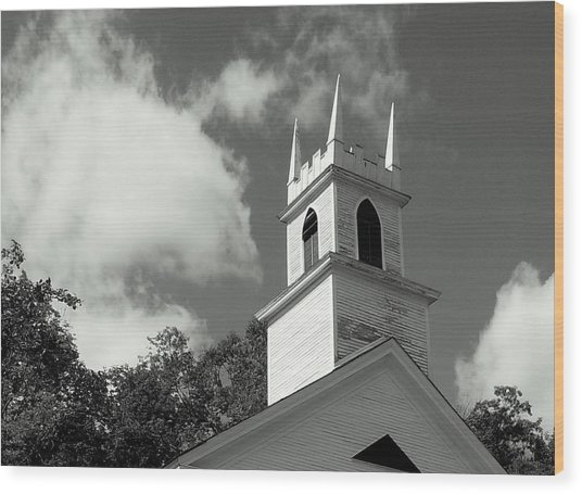 Steeple In The Clouds Wood Print by Lois Lepisto