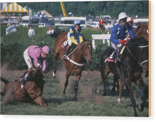 Steeplechase Spill - 1 Wood Print by Randy Muir