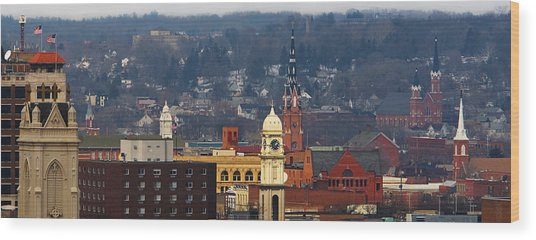 Steeples Of Dubuque Wood Print
