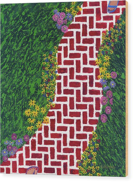 Step Into My Garden Wood Print