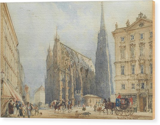 Stephansplatz In Vienna With The Cathedral Wood Print