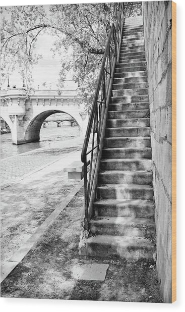 Steps By Pont Neuf, Paris Wood Print