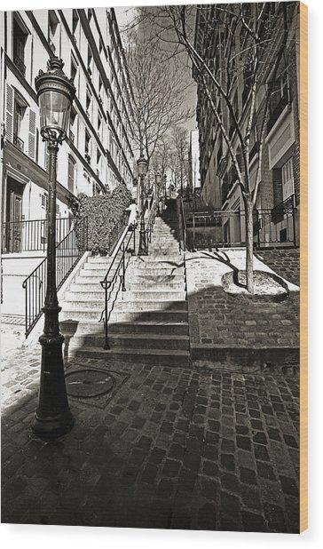 Steps In Montmartre Wood Print by Gerry Walden