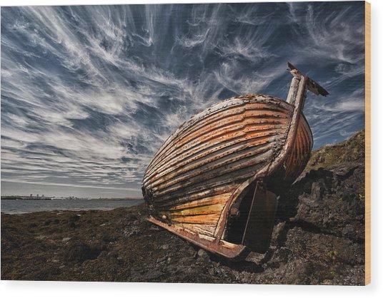 Stern Boat Wood Print
