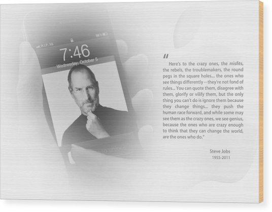 Steve Jobs 1 Wood Print