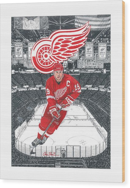 Steve Yzerman  Wood Print