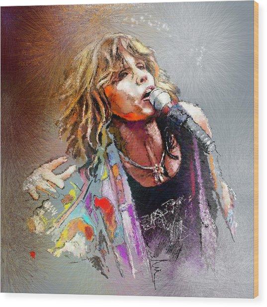Steven Tyler 02  Aerosmith Wood Print