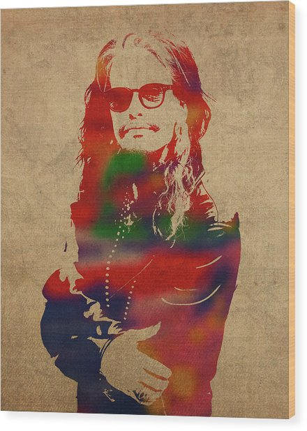 Steven Tyler Watercolor Portrait Aerosmith Wood Print