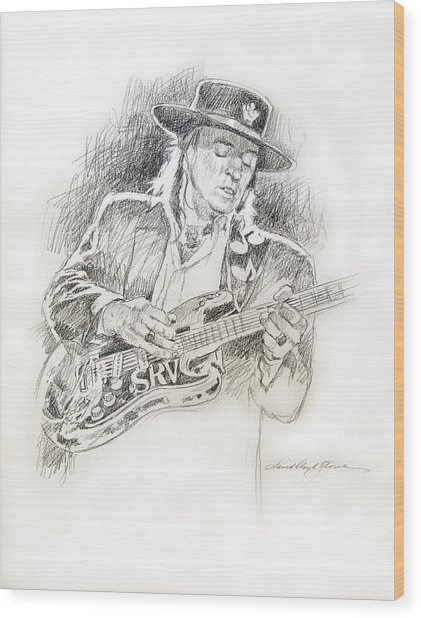 Stevie Ray Vaughan - Texas Twister Wood Print by David Lloyd Glover