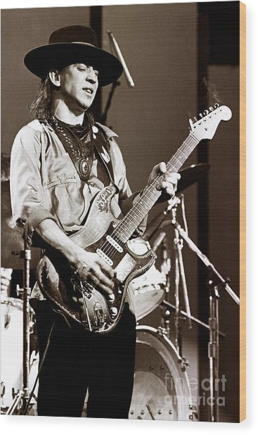Stevie Ray Vaughan 1984 Sepia Sepia Wood Print