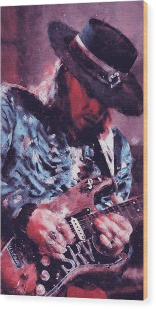 Stevie Ray Vaughan - 25 Wood Print