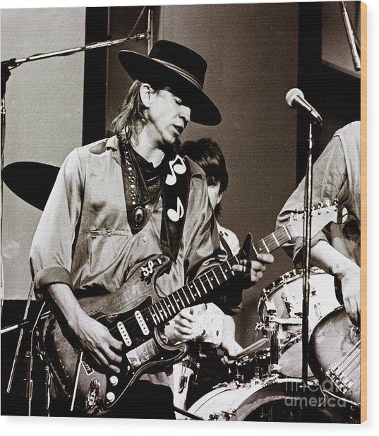 Stevie Ray Vaughan 3 1984 Wood Print