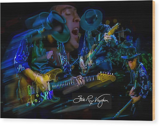 Stevie Ray Vaughan - Double Trouble Wood Print
