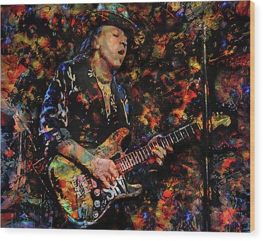 Stevie Ray Vaughan Wood Print